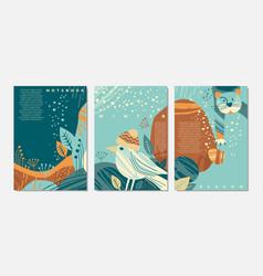 cartoon with cute animals vector image