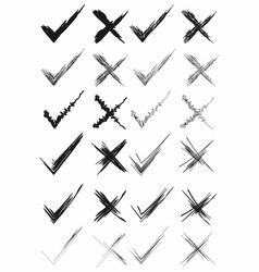 check and cross marks hand drawn brushes marker vector image