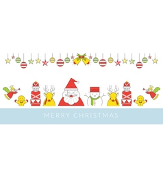 Christmas Character Line Style and Ornament vector image