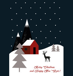 christmas decoration wirh deer and forest vector image