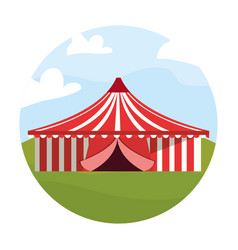 circus big tent in field carnival festival vector image
