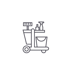 Cleaning trolley line icon sign vector