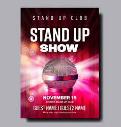 colorful poster of best stand up club show vector image