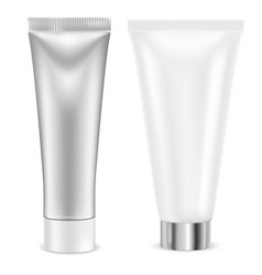 cream tube silver and white container vector image