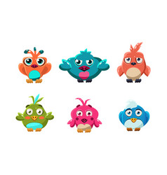 cute little birds set funny colorful cartoon vector image