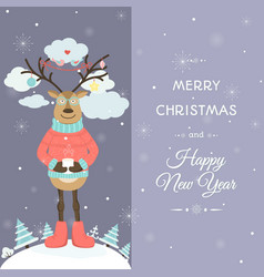 cute raindeer cartoon male character in glasses vector image