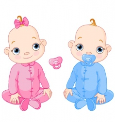 cute sitting twins vector image vector image