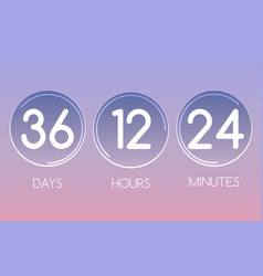 Digital round countdown numbers panel vector
