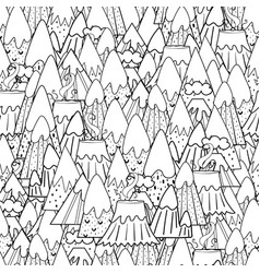doodle mountains seamless pattern fantasy nature vector image