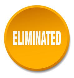 Eliminated orange round flat isolated push button vector