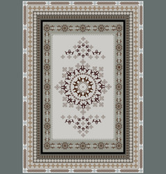 Ethnic carpet in design gray and beige shades vector