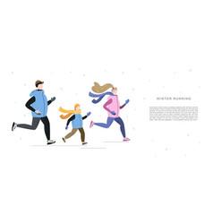 Family running in winter cold season handdrawn vector