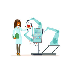 female scientist and robotic arm conducting vector image