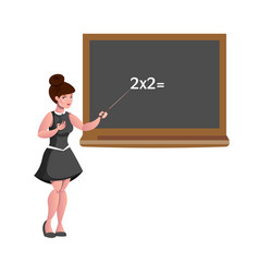 female teacher with blackboard isolated vector image