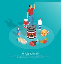 Fitness nutrition supplements isometric poster vector