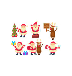 flat set of santa claus in different vector image