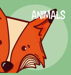 Fox animal cartoon vector