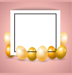 frame with golden eggs vector image