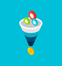 funnel sales leads money concept vector image