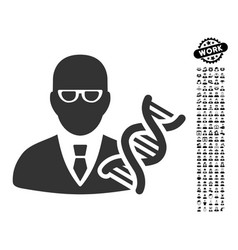 Genetic engineer icon with people bonus vector