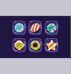 glossy colorful shapes set sweet square candy vector image