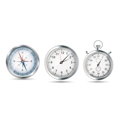 Glossy Compass watch and stopwatch set vector