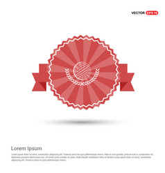 golf champion icon - red ribbon banner vector image