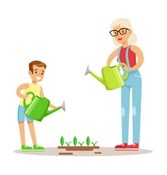 grandmother and boy watering plants part of vector image