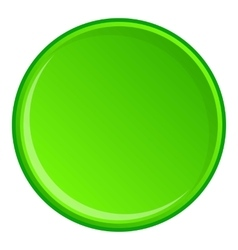 Green round button icon cartoon style vector image