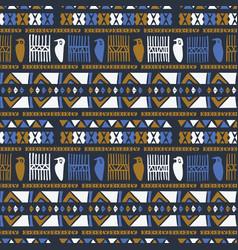 hand drawn ancient greek bird pattern blue orange vector image
