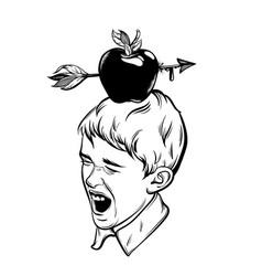 Hand drawn of apple with arrow on boys head vector