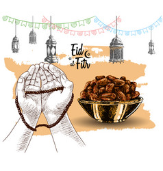 Hand praying food lantern ribbon drawn vector