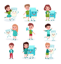 Happy boys and girls playing with humanized boxes vector