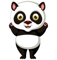 happy panda cartoon posing vector image
