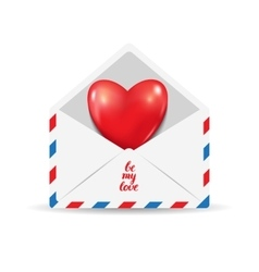 Heart in the open postal envelope vector