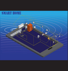isometric image of smart home technology vector image