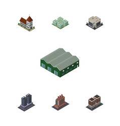 Isometric urban set of company industry chapel vector
