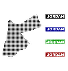 Jordan map in dot style with grunge caption stamps vector