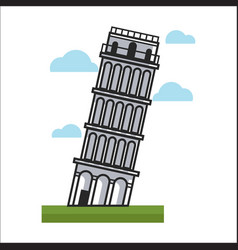 Leaning tower monument vector