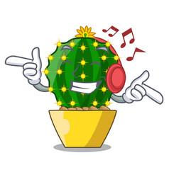 Listening music mammillaria compressa cactus vector
