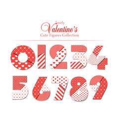 love font number set with hearts romantic and vector image