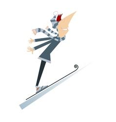 Man a ski jumper vector