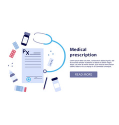 medical prescription banner with flat document vector image