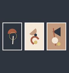 minimalistic geometric art wall posters set of vector image