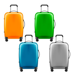 modern plastic wheeled suitcase - set of baggage vector image