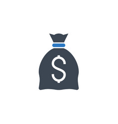 money bag with dollar related glyph icon vector image