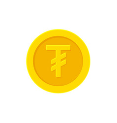 Mongolian tugrik gold coin icon isolated on white vector