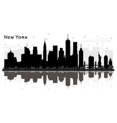 new york usa city skyline silhouette with black vector image