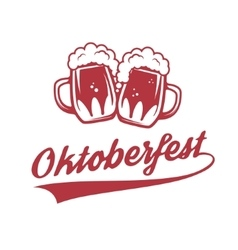 Octoberfest Two vintage beer mug isolated on vector image