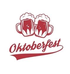 Oktoberfest two vintage beer mug isolated vector